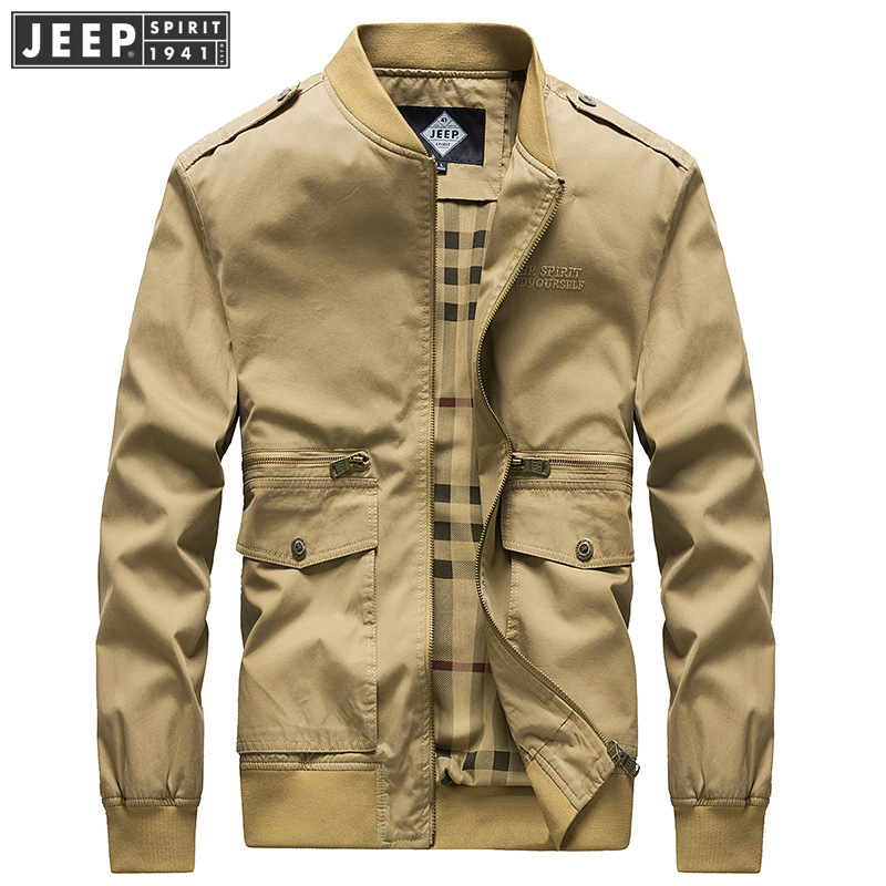 45fbf25eb US $62.46 48% OFF JEEP SPIRIT 2018 Autumn Spring Bomber Jacket Coat M~3XL  Man Stand Collar Clothes Business Long Sleeve Military Fashion Jackets-in  ...