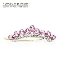 Neoglory Austria Rhinestone Crystal Hair Barrettes14K Gold Plated Water Drop Shaped Hairwear Women Jewelry New 2015