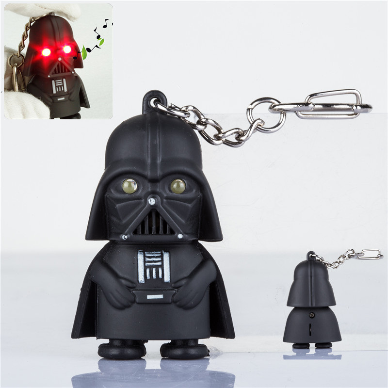 J200 Cool! Ultra Bright LED Cute Mini Darth Vader Star War Anakin Skywalker Action Figure Toys With Sound Keychain Kids Gifts