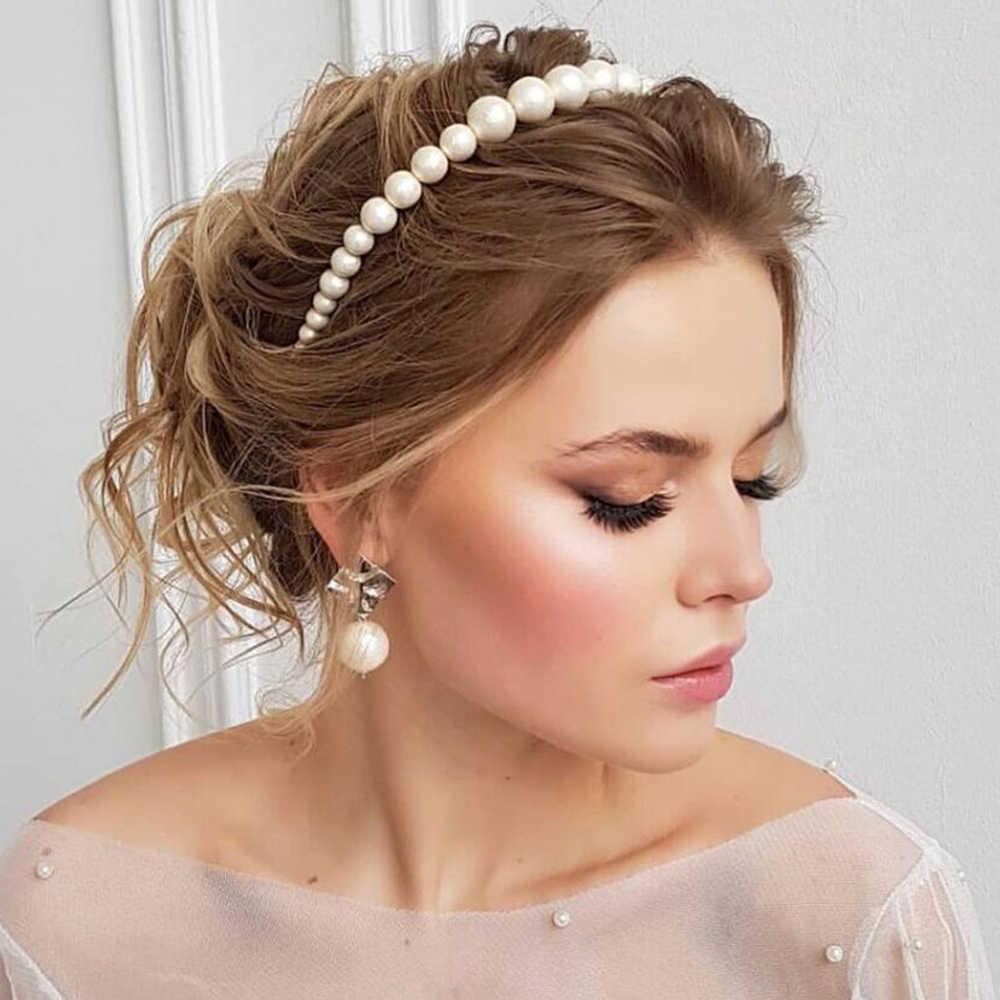 1PC 2019 nouveauté élégant simulé perle bandeau pinces à cheveux mariée mariage luxe mode bijoux femmes cadeaux cheveux accessoire