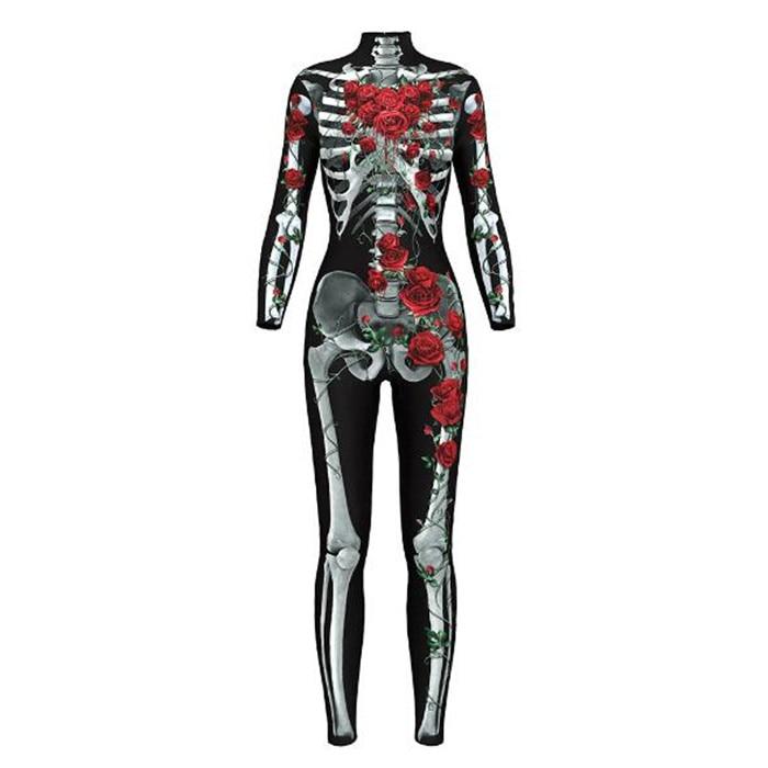 Sexy Bodysuits women Halloween Costumes  3D Skull Rose Printing Jumpsuits Punky Back Zipper Macacao Feminino A399