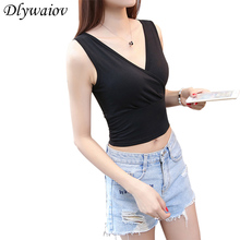 Summer New Women Top Cotton Tank Cold Shoulder Tops Cross V collar Sexy Tight Exposed Navel Vest Slim Short Paragraph Camisole