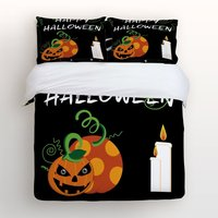 Black 4 Piece Bed Sheets Set Happy Halloween With Cartoon Pumpkin Print 1 Flat Sheet 1