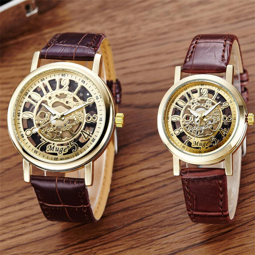 Hot 2017 NewSuperior Men and Women Classic Wrist Hollow Skeleton Mechanical Couple Watches Leather Strap Wrist Watch Gift Dec 21 hcandice new top selling classic men s leather dial skeleton mechanical sport army wrist watch gift 1pcs dec 13