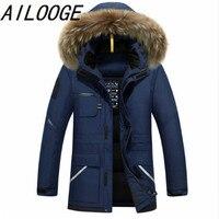 Speed Hiker Thick Down Jacket Men 2016 Winter With Hood Detached Warm Waterproof Big Raccoon Fur