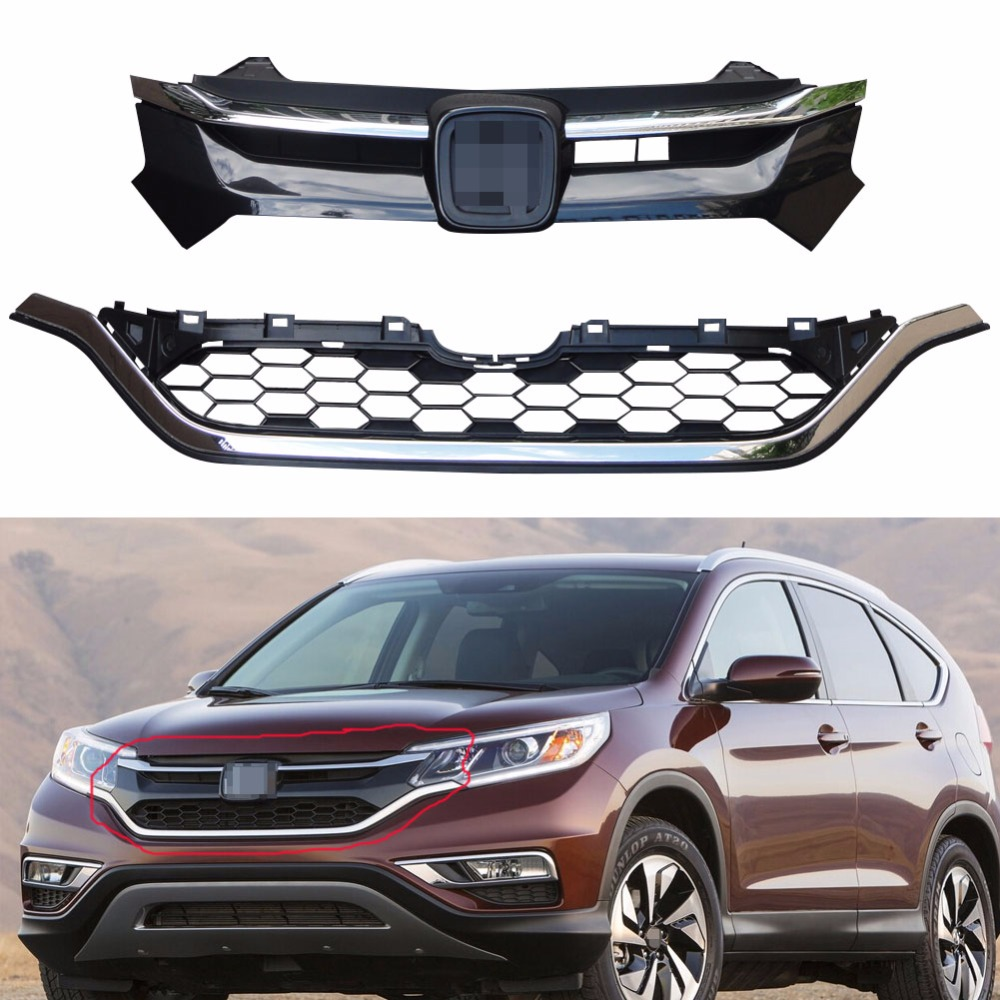 Aliexpress Com Buy Chrome Front Upper Grill Grille For: 1Set Chrome Front Bumper Upper Grille+Lower Grill New For