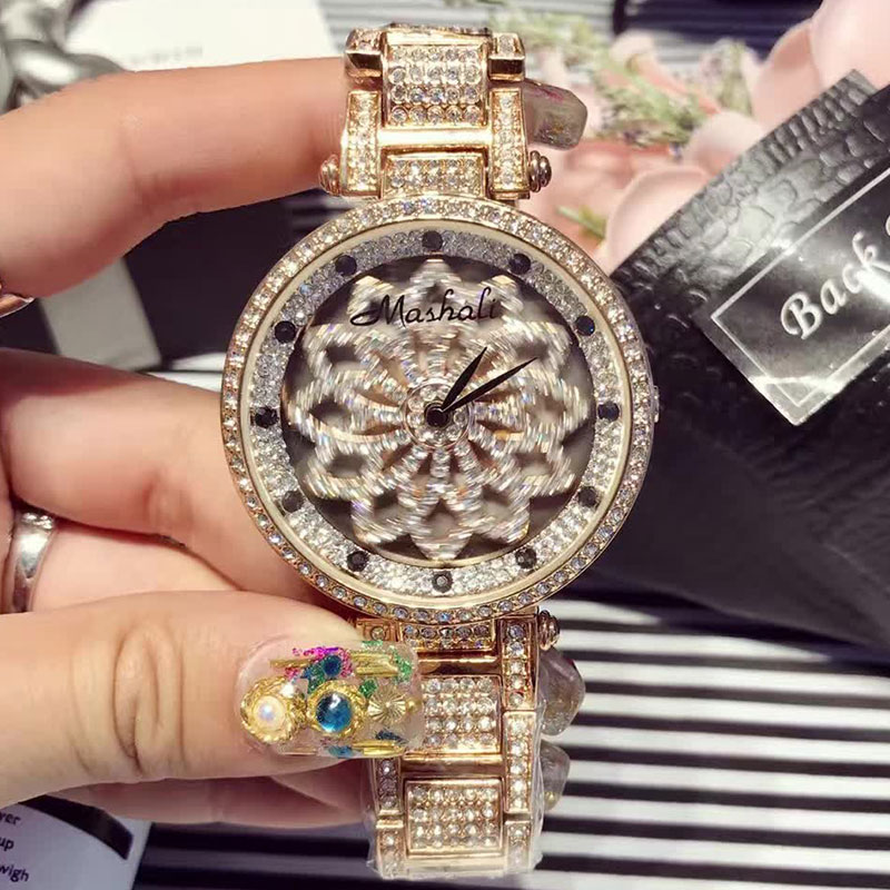 New Arrivals Luxury Brand Women Watches Full Diamond Rotating Dial Wristwatch Relojes Mujer Women Watch Relogio Feminino relojes relogio feminino quartz watch fashion watch women luxury dom brand leather strap watches ladies wristwatch relojes mujer 2017