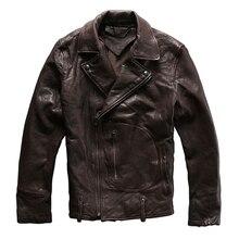 2017 г. мужские коричневый Slim Fit кожаная куртка мотоцикла диагонали молния плюс Размеры 3XL мужской Slim Fit кожаная байкерская куртка Бесплатная доставка