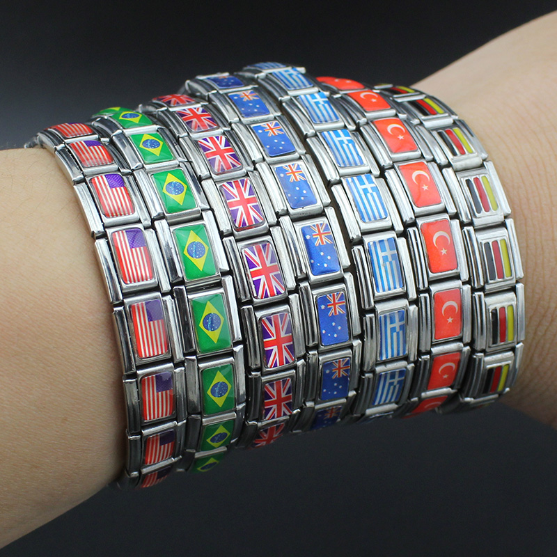2017 New 7 Style Fashion Jewelry USA/UK/DE/AU/TR/GR National Flag 316L Stainless Steel Bracelet Bangle For Women Free Shipping
