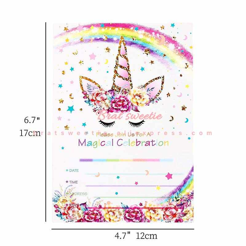 Unicorn Party Invitation Card Birthday Party Decorations Kids Girls Unicorn Birthday Favors Invitation Cards With Envelopes