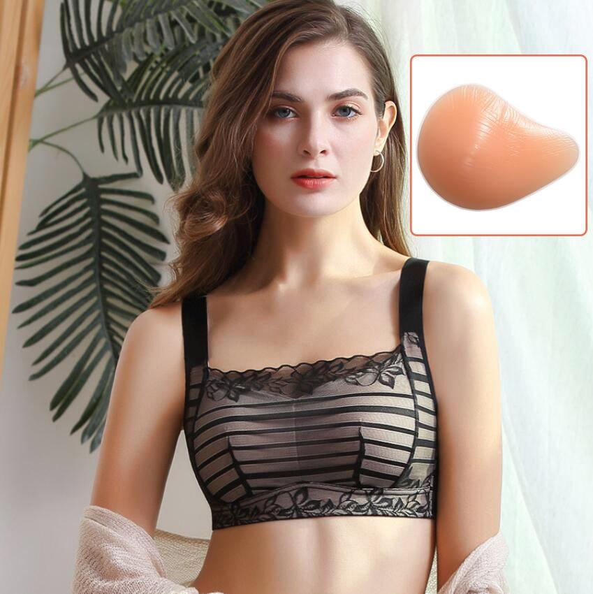 Artificial Silicone Breast Form Fake Boobs Mastectomy Bra Prosthesis Pocket Black D40