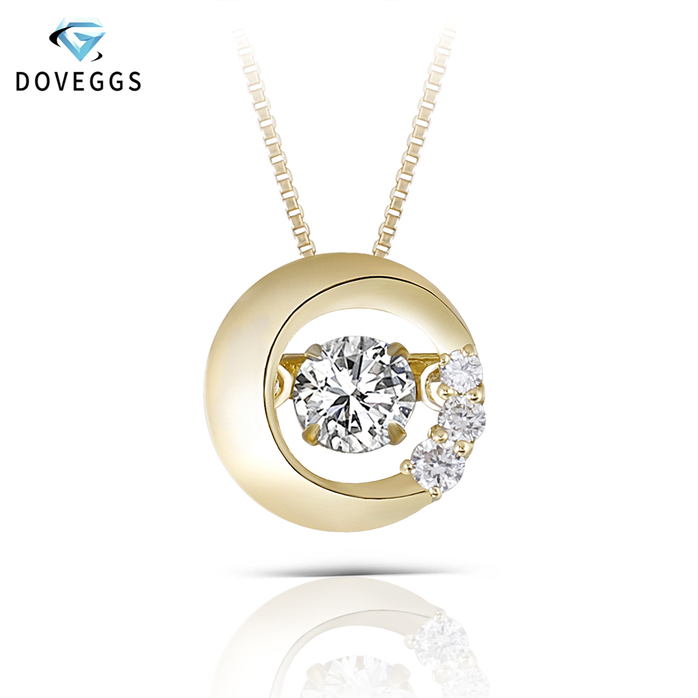 Doveggs Solid 18k 750 Yellow Gold Center 0 2ct Diamond Necklace For Women Dancing Diamond Pendant Necklace Necklaces Aliexpress