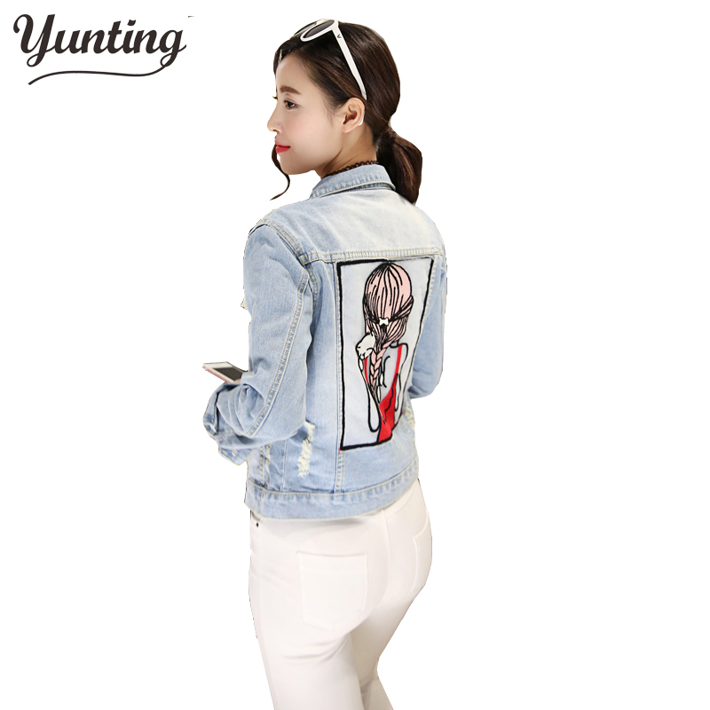 New Arrival 2018 Autumn Spring Outerwear Cute Print Pattern Vintage Denim Slim Jacket Women Jeans Coats Jackets Female