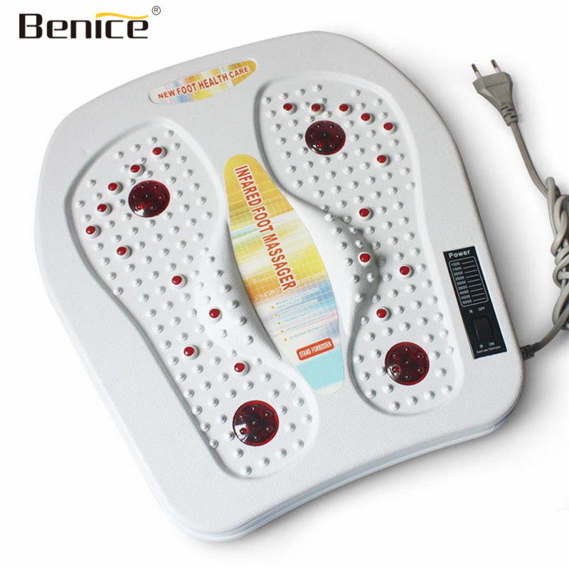 где купить Benice Physical Infrared Reflexology Foot Massager Electric Machine Automatic Roller Feet Vibration Magnetic Therapy Heated SPA дешево