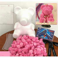 Presente do Dia dos namorados DIY Espuma Molde Urso 600 PCS PE Rosa Artificial Cabeças de Flor de Rosa Do Cão Do Urso Molde Acessórios saco conjunto de ferramentas