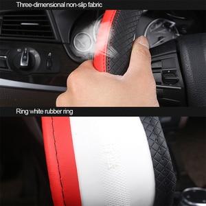 Image 3 - 2019 New Car Steering Wheel Cover for 37 38CM Leather Breathable Fabric Braid Car Steering Wheel Cover Auto Interior Accessories