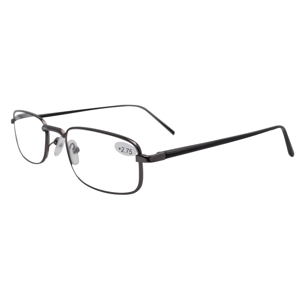 FR004 Spring Hinged Aluminum Black Arms Reading Glasses Include Case and Cord