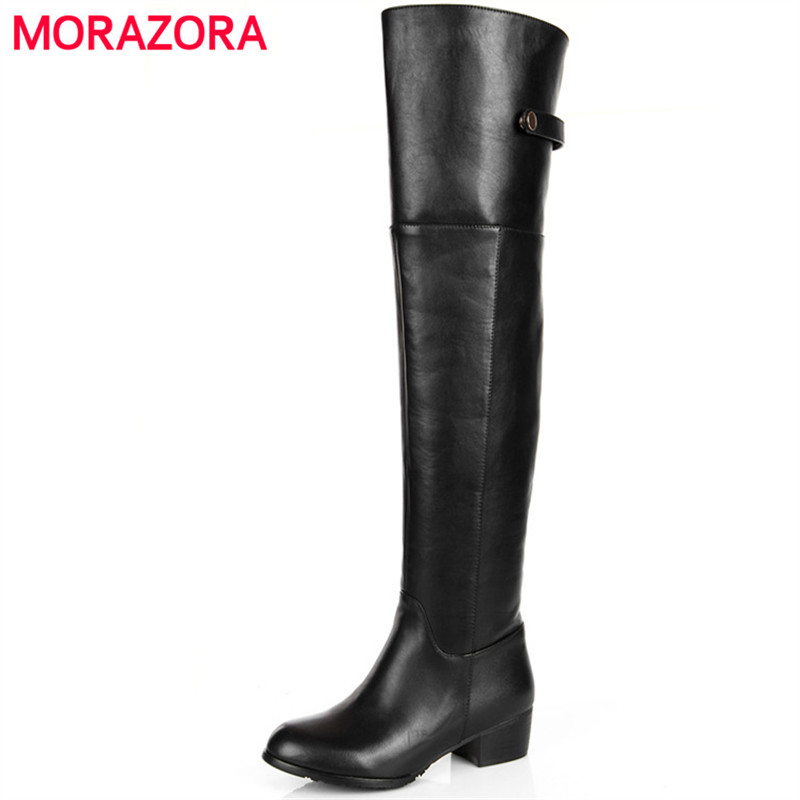 MORAZORA 2018 Genuine leather + PU womens boots in autumn winter fashion shoes over the knee boots solid zipper size 34-45