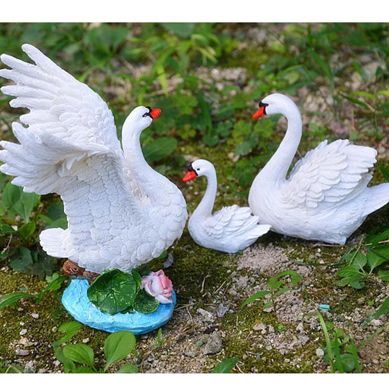 European Micro Landscape Creative DIY Resin Swan Furnishing Ornaments 3 Size S M L