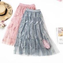 Women Velvet Mesh Long Skirts 2019 New Spring High Waist Feather Embroidery Beading Pleated Fairy Skirt Elegant Faldas Saias