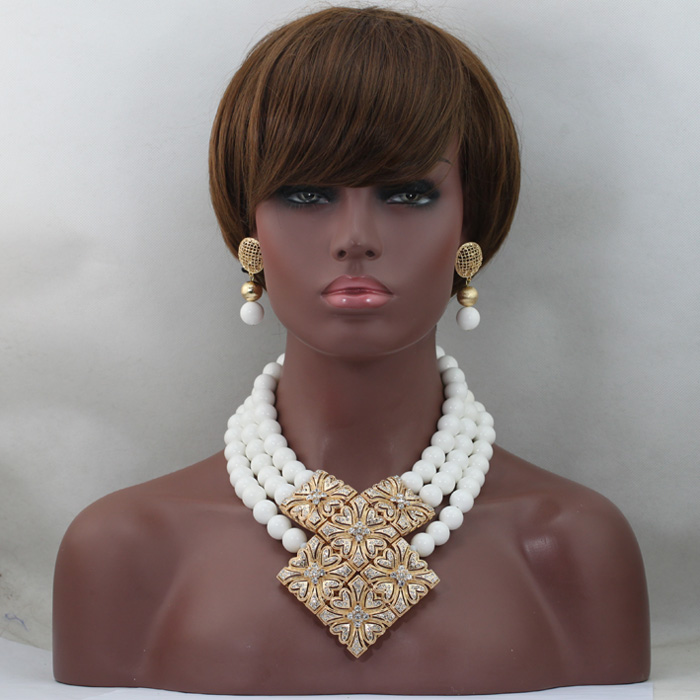 Fabulous 3 Layers White Coral African Beaded Jewelry Set 16MM Beads Set for Women Fashion Gold
