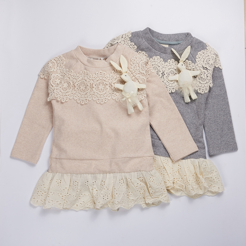 Girl Dress 2016 Children  bunny baby Lace dress long sleeve Princess christmas Dress autumn Kids Party Dresses for girls clothes new 2017 baby girls ruffle sweater dress kids long sleeve princess party christmas dresses autumn toddler girl children clothes