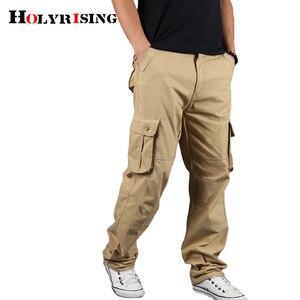 Image 2 - Holyrising メンズカーゴパンツカジュアルズボン綿ズボンマルチポケット戦術的なパンツ男性迷彩綿 90% パンツ 18671
