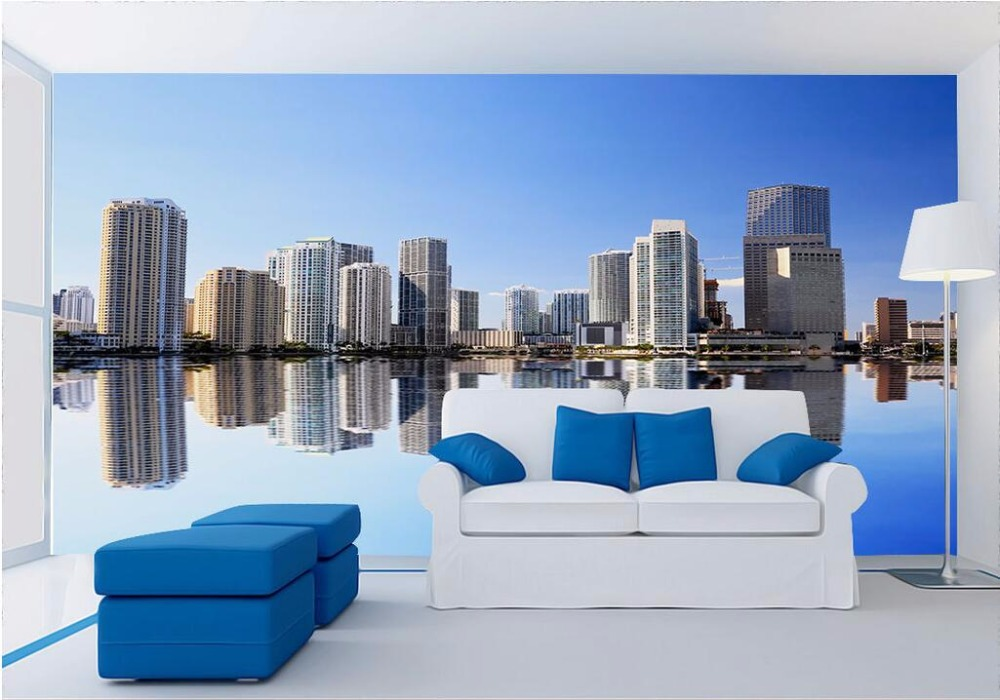 Custom Mural 3d Wallpaper Modern City Building The