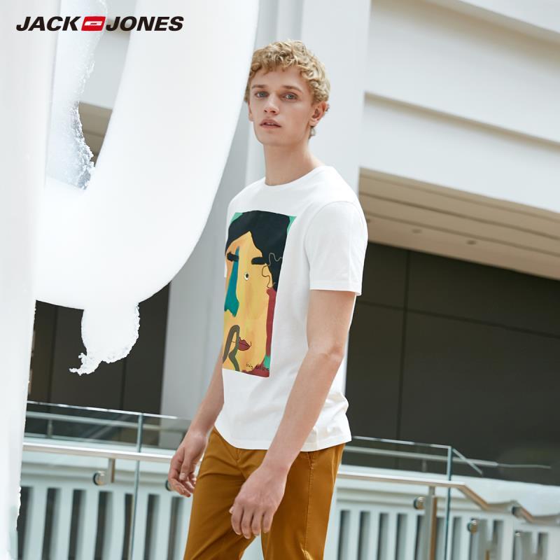 JackJones Men's 100% Cotton Printed Short-sleeved T-shirt E|219101509