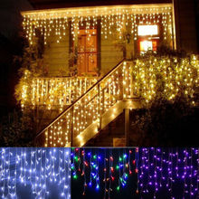 LED Garland Christmas Curtain String Light Icicle 3.5M Droop 0.4-0.6m fairy lights For Xmas Wedding Indoor Decor US/EU Plug beiaidi 3x0 65m heart shape curtain icicle led string light romantic xmas wedding party window curtain garland indoor lighting