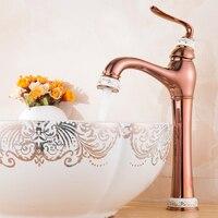 Modo di alta qualità in oro rosa finito carrello intagliato fredda e calda monocomando bagno lavello rubinetto del bacino rubinetto