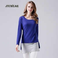 JTCWEAR 2017 Autumn Long Sleeve Woman T Shirts Patchwork Contrast Color Office Lady Casual New Fashion Young Girls T Shirts 346