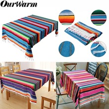 OurWarm 150X215cm Mexican Tablecloth Wedding Party Decoration Colorful Serape Blanket Table Cloth Fiesta cinco de mayo