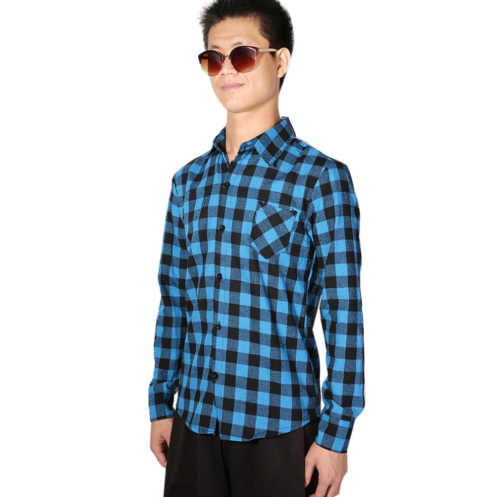 NEW Sale Brand Plaid Men Shirts Long Sleeve Cotton Slim Fit Casual Shirt Clothes 5 colors ...