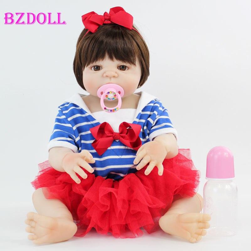 55cm Full Silicone Reborn Baby Doll Toy Vinyl Newborn Princess Babies Girl Bonecas Bebe Alive Bathe