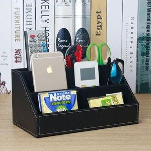 Image 2 - home office wood +PU leather desktop office storage pen holder organizar desk organizer office stationery holder SNH011B