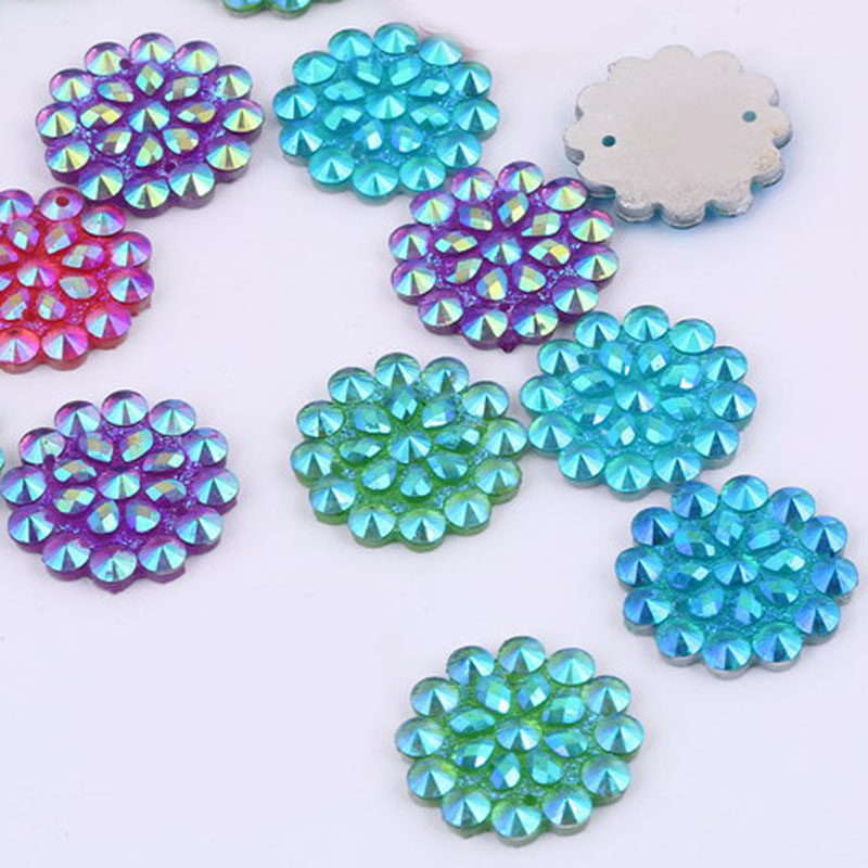 Taidian 20MM Flatback Resin AB cabs rhinestone For Native Bling 20 pieces/lot