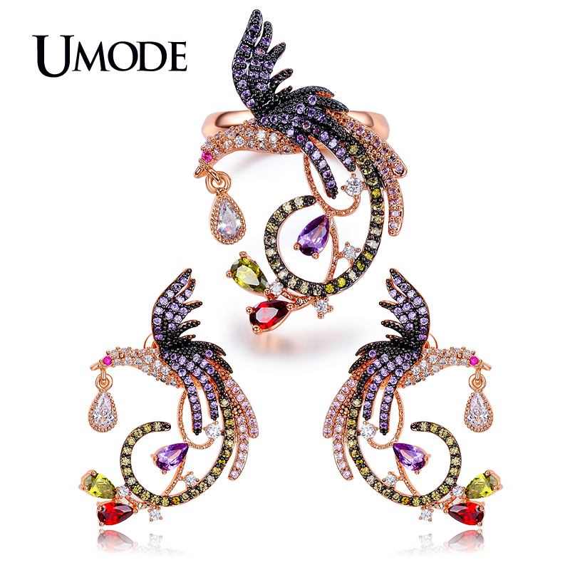 UMODE Brand New Phoenix Earring/Ring Jewelry Sets For Women Rose Gold Color Crystal Wedding Earrings and Rings Sets Gift AUS0036 6 style 1 pair women ear studs rose gold color crown flower crystal diy earrings high quality earring women wedding jewelry