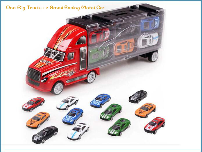 new 13pcs diecast metal car toys children 12 racing car one big truck toys baby mini