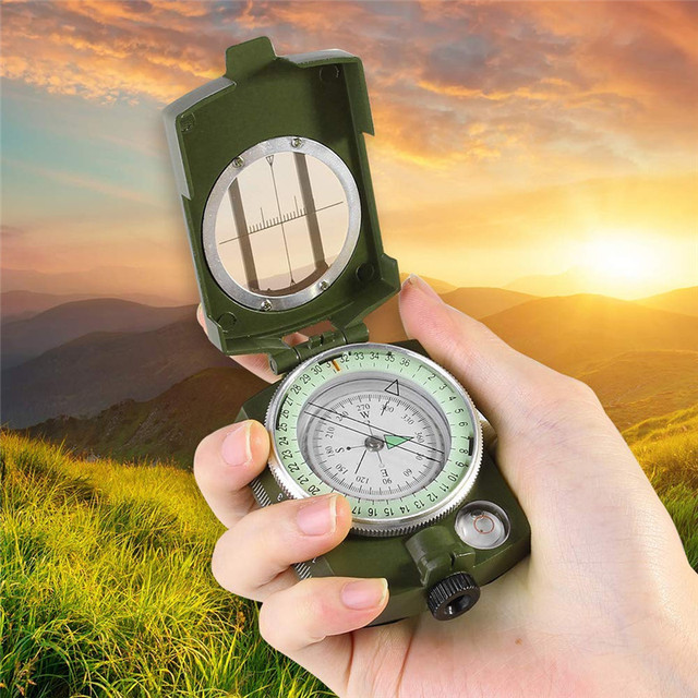 Outdoor Waterproof Survival Military Compass Hiking Camping Army Pocket Military Lensatic Compass Handheld Military Equipment