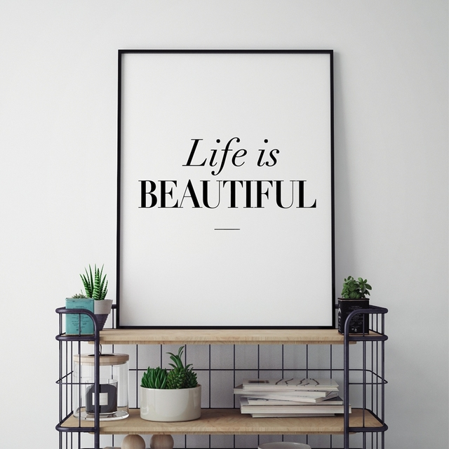 Modern Home Decor Beautiful Life Typography Quote Canvas Art Print Poster Black White Minimalist Painting