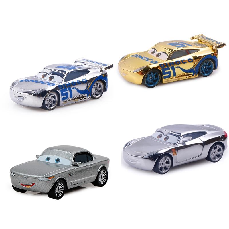 Disney Pixar Cars 3 Gold Silver Lighting McQueen 1:55 Diecast Metal Alloy Model Car Toys Birthday Christms Gift For Children Boy