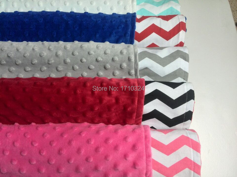 Minky Dot Fabric Home Use Hot Pink Blanket Made In China Knitted Baby Blanket