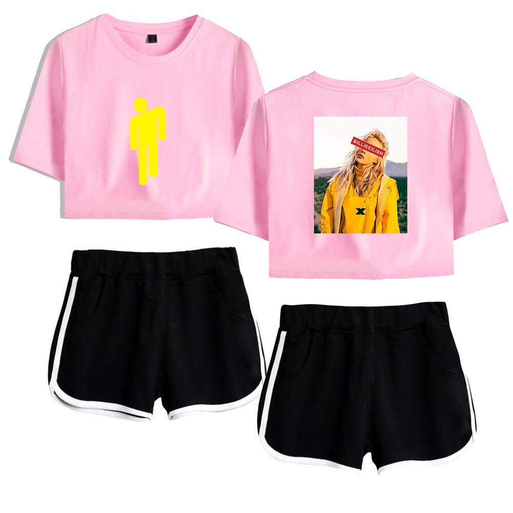 Summer Print Singer Billie Eilish Pink Short Exposed Navel T Shirt+black Short Pants Popular Billie Eilish Two-piece Sets XS-2XL