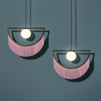 Modern Cloth Art Pendant Lamp Glass Ball Hanglamp Nordic Foyer Pendant Lights Loft Deco For Restaurant Bedroom Coffee shop Bar
