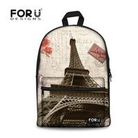 Vintage Women Canvas Backpack Eiffel Tower Printing Backpacks for Teenage Girls Female School Travel Bag Children Kids Mochila