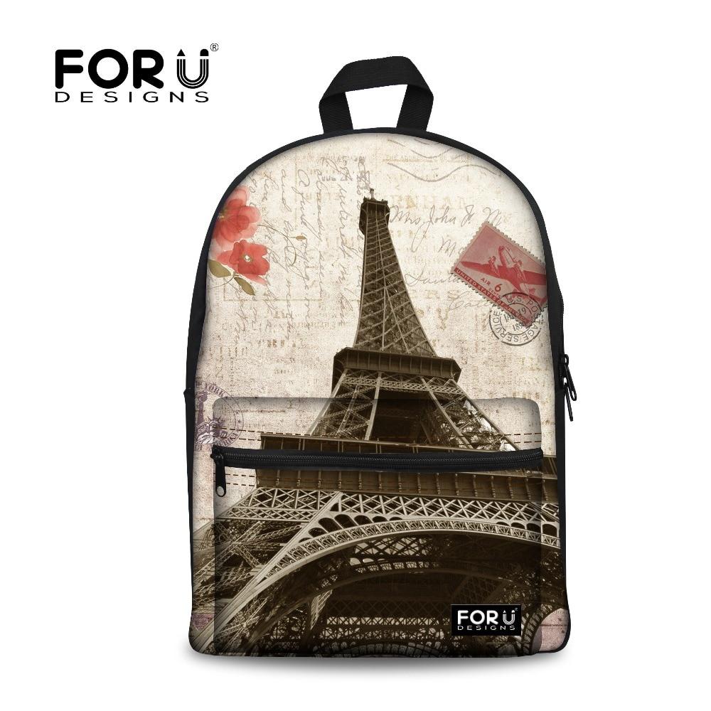 Vintage femmes toile sac à dos tour Eiffel impression sacs à dos pour adolescentes femme école sac de voyage enfants Mochila