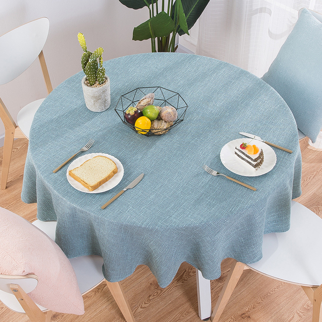 Round Plain Cotton Knitted Tablecloth