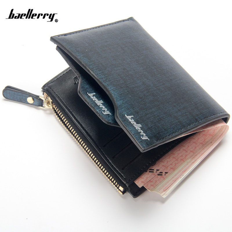 Baellerry 2018 Hot men wallets Bifold Wallet ID Card holder Coin Purse Pockets Clutch with zipper Men Wallet With Coin Bag Gift nahoo lanyard id badge clip name label plastic badge leather card holder vertical credit card bus card holder office supplies