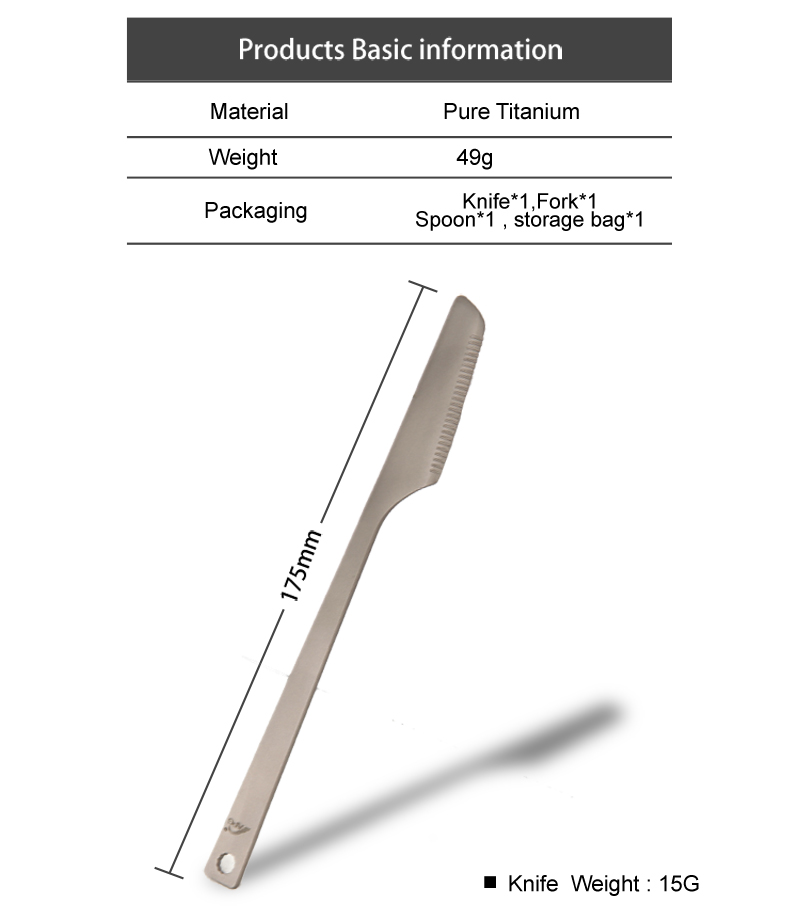 Kuti portative 3 copë Titanium takëmeri thikë Forkë Camping - Kampimi dhe shëtitjet - Foto 4
